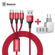 Baseus Letour Dupla 2x USB Hálózati Fali töltő adapter + 3in1 töltőkábel (Lightning+Micro+Type-C) 2.4A Fehér (TZCL-D92)