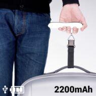 Kézi poggyász Csomag Mérleg Power Bankkel 2200 mAh Fekete