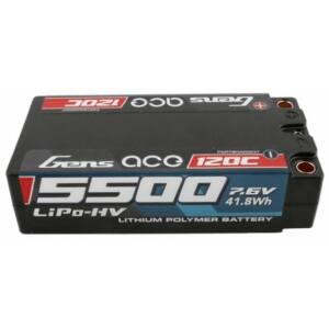 RC akkumulátor - Gens Ace 5500mAh 7.6V 100C 2S2P Shorty Black (kemény tok)