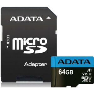 Adata 64Gb MicroSD Premier UHS1/CL10/A1+ memóriakártya adapter (AUSDX64GUICL10A1-RA1)