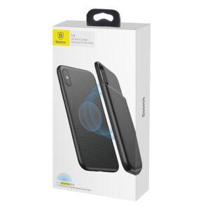 Baseus 1+1 Wireless Vezeték nélküli töltős Backpack 5000 mAh Apple iPhone X Akkumulátoros Tok - Fekete (ACAPIPHX-ABJ01)