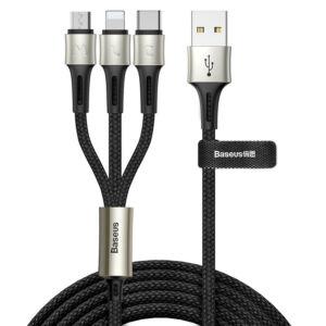 Baseus 3 az 1-ben univerzális adatkábel ( USB-C, Lightning, Micro) - Fekete - 1,2m (CAMLT-GH01)