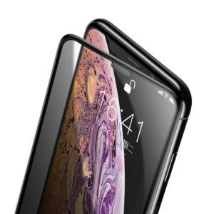 Baseus iPhone Xs 0.23 mm Anti-Spy Lekerekített teljes kijelzős Edzett üveg kijelzővédő fólia (hangszóró por szűrővel) - Fekete (SGAPIPH58-WC01)