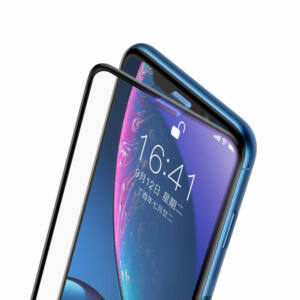 Baseus iPhone Xr 0.23 mm Lekerekített teljes kijelzős kékfényszűrős Edzett üveg kijelzővédő fólia (hangszóró por szűrővel) - Fekete (SGAPIPH61-WB01)