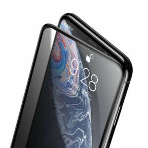 Baseus iPhone Xr 0.23 mm Lekerekített teljes kijelzős Edzett üveg kijelzővédő fólia (hangszóró por szűrővel) - Fekete (SGAPIPH61-WC01)