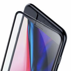Baseus iPhone 8/7/6 0.23 mm Lekerekített Edzett üveg (hangszóró por szűrővel) - Fekete (SGAPIPH8N-WA01)