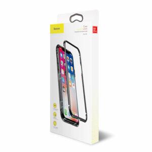 Baseus iPhone X Magnetite hardware védőtok tok Mágneses zárral edzett üveggel