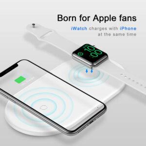Baseus Wireless vezeték nélküli Qi gyorstöltő 2in1 Qi töltő okostelefonokhoz + Apple Watch töltő 10W Fehér (WX2IN1-02)