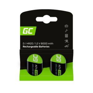 Green Cell akkumulátor 2x D R20 HR20 Ni-MH 1.2V 8000mAh
