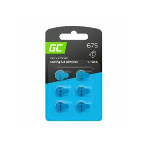 6x Green Cell hallókészülék elem Type 675 P675 PR44 ZL1 Cink levegő típus