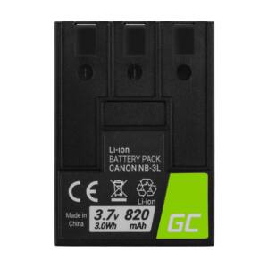 Green Cell Digitális kamera akkumulátor NB-3L NB3L Canon Digital IXUS II, PowerShot SD100, IXY Digital 600 3.7V 820mAh