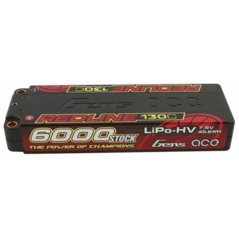 RC akkumulátor - Gens Ace Redline 6000mAh 7,6V 130C 2S2P (kemény tok) HV