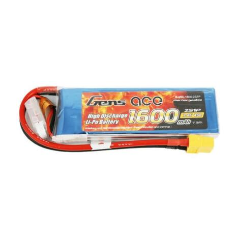RC akkumulátor - GensAce LiPo 1600mAh 7.4V 45C 2S1P XT60