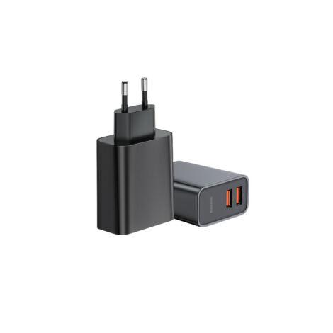 Baseus Speed Hálózati Fali töltő adapter Gyorstöltő 2 x USB QC3.0 30W - Fekete (CCFS-E01)