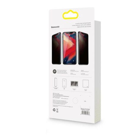 Baseus iPhone Xs 0.23 mm Anti-spy repedésálló lekerekített Edzett üveg kijelzővédő fólia Fekete (SGAPIPH58-CTG01)