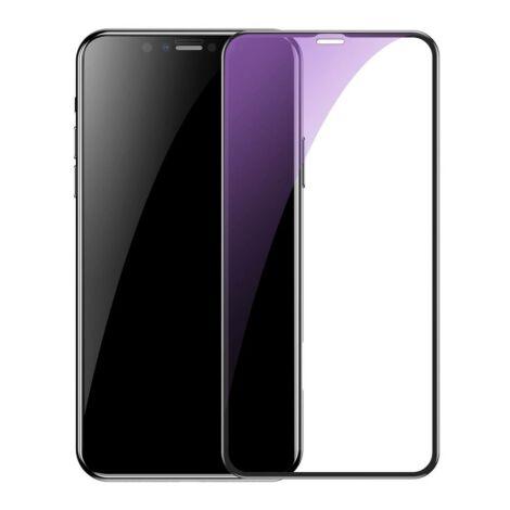 Baseus iPhone 11 Pro 0.3mm Edzett teljes képernyős kijlezővédő üvegfólia kékfényszűrős (2db) Fekete kerettel (SGAPIPH58S-KD01)