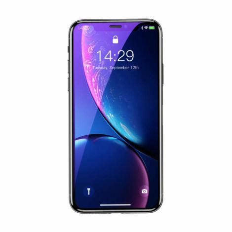 Baseus iPhone Xr 0.3 mm Rigid-edge Kékfényszűrős Lekerekített Edzett üveg kijelzővédő fólia - Fekete (SGAPIPH61-BJG01)