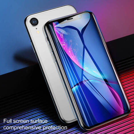 Baseus iPhone Xr 0.2 mm Teljes kijlezős lekerekített Edzett üveg kijelzővédő - Fekete (SGAPIPH61-TN01)