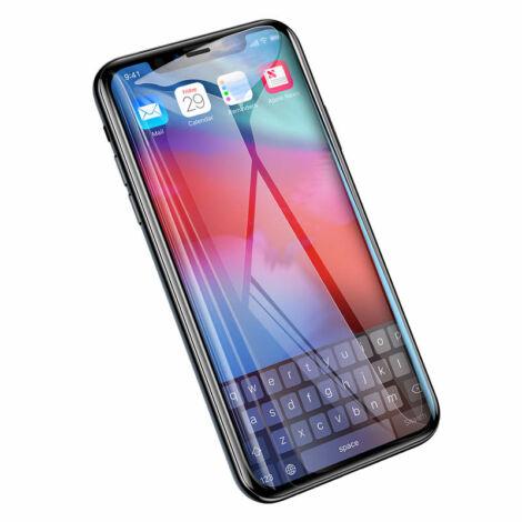 Baseus iPhone Xs Max 0.2 mm lekerekített Edzett üveg kijelzővédő fólia - Fekete (SGAPIPH65-TN01)