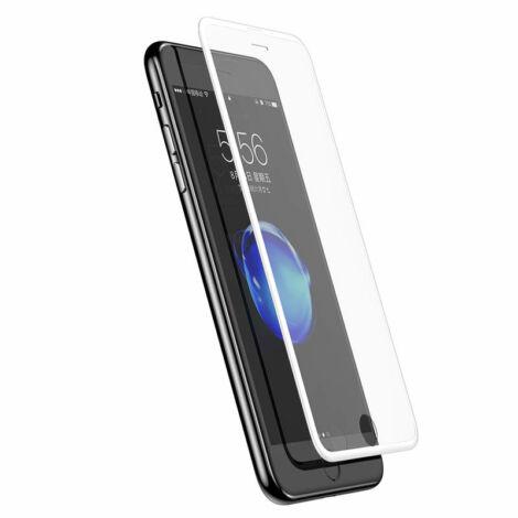Baseus iPhone 8/7 0.23 mm Silk-screen T-Glass Edzett üveg kijelzővédő fólia (keskeny kerettel) - Fehér (SGAPIPH7S-ZD02)