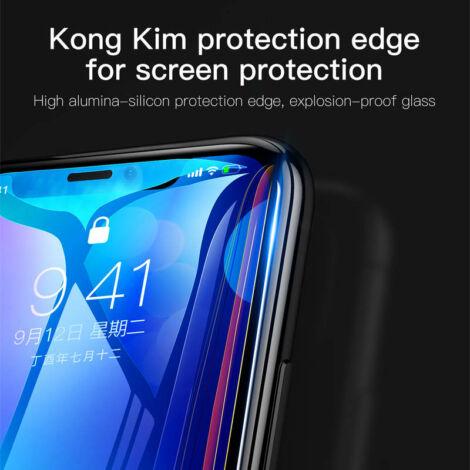 Baseus Diamond Body iPhone X teljes képernyős edzett üveg kijelzővédő fólia - Fekete (SGAPIPHX-BJG01)