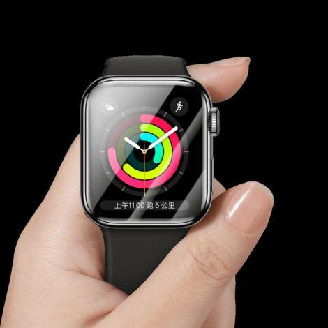 Baseus iWatch 0.2 mm, Teljes képernyős lekerekített T-Glass hajlékony védőfólia 40mm, Fekete kerettel (SGAPWA4-G01)