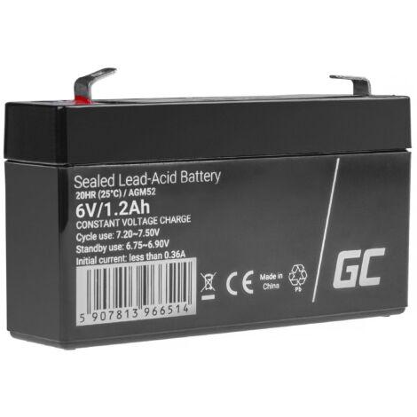 Green Cell ólom-sav AGM akkumulátor/akku 6V 1.2Ah játékokhoz, riasztókhoz