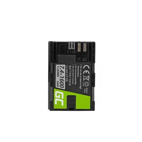 Green Cell Digitális Kamera akkumulátor Canon EOS 70D, 80D, 7D Mark II, 60D, 6D, 7D 7.4V 1600mAh, 5D Mark II/ III,