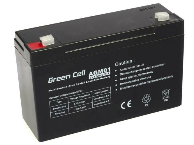 Green Cell AGM zselés akkumulátor 6V 12Ah